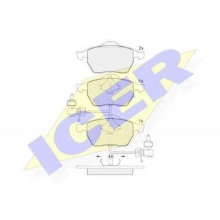 Колодки тормозные передние (пр-во ICER) Audi A6 1.8-2.8 97-, VW Passat, Skoda