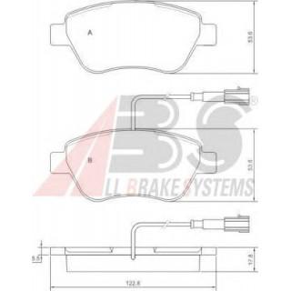 Колодки тормозные передние с датчиком износа система BOSCH (пр-во A.B.S) Fiat Doblo