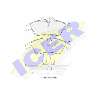 Колодки тормозные передние с датчиками (пр-во ICER) Sprinter, LT 96-06, Vito 96-06